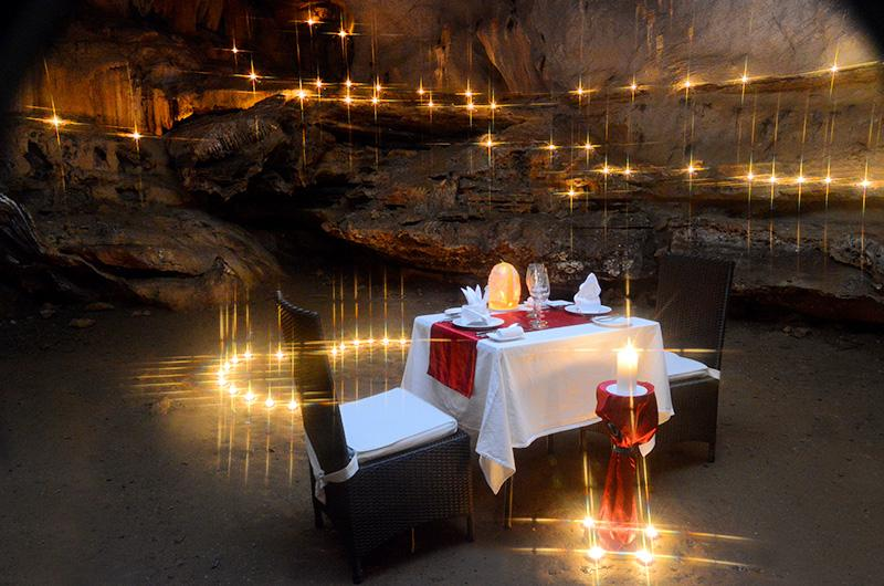 Romantic anniverary dinner in Trong Cave